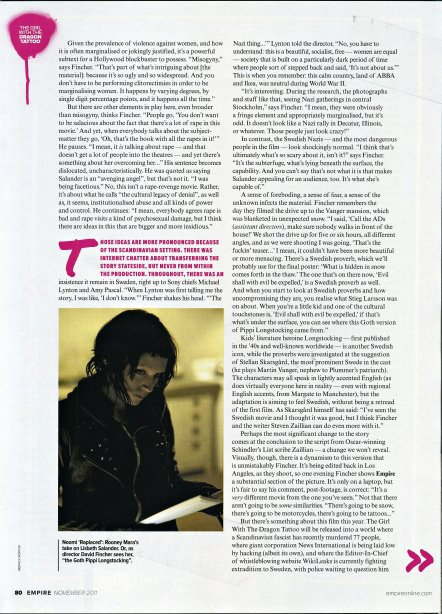 The Girl with the Dragon Tattoo, Empire Magazine November 2011 Article, 05