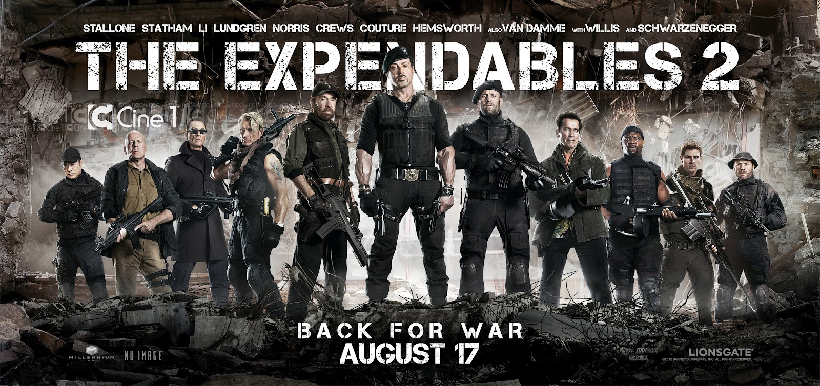 2012 Movie Poster: THE EXPENDABLES 2 (2012) Movie Poster: Sylvester Stallone