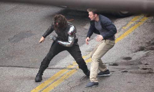 Sebastian Stan Chris Evans Knife Fight Captain America The Winter Soldier