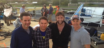 Simon Kinberg Hutch Parker Bryan Singer Hugh Jackman X-Men Days Of Future Past Set