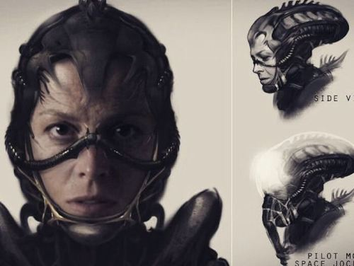 Ellen Ripley Pilot Mask Space Jockey Neil Blomkamp Alien Concept Art