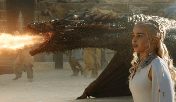 Emilia Clarke Drogon Breathing Fire Game of Thrones The Dance of Dragons