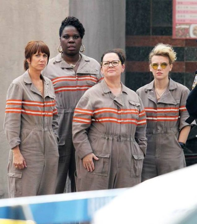 All Four New Ghostbusters in Costume