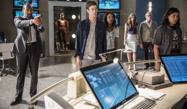 Jesse L. Martin Grant Gustin Candice Patton Danielle Panabaker Victor Garber Carlos Valdes The Flash Season Two Still