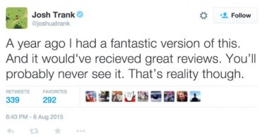 Josh Trank Fantastic Four Deleted Tweet