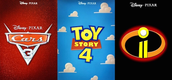 Cars 3 Toy Story 4 The Incredibles 2