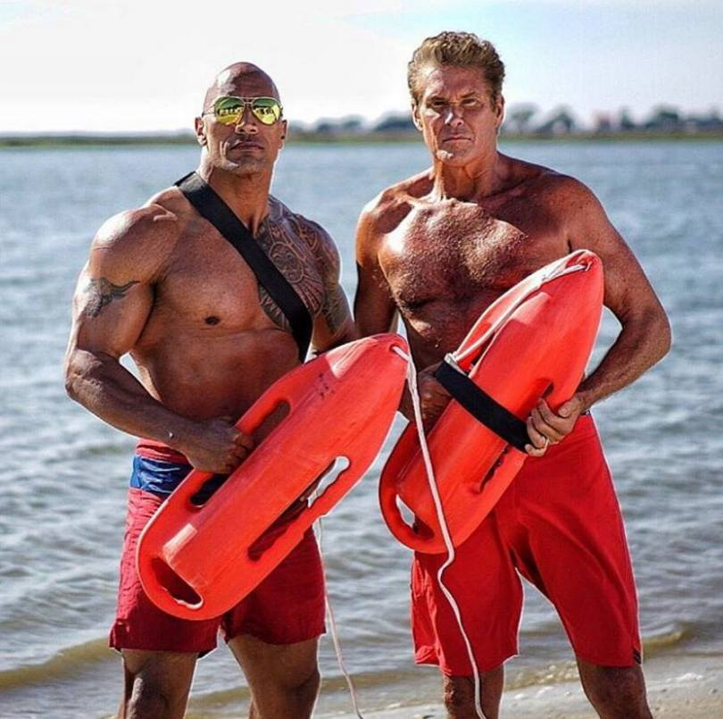 Dwayne Johnson David Hasselhoff Baywatch
