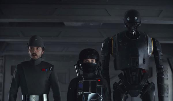 Felicity Jones Diego Luna K-2SO Rogue One: A Star Wars Story