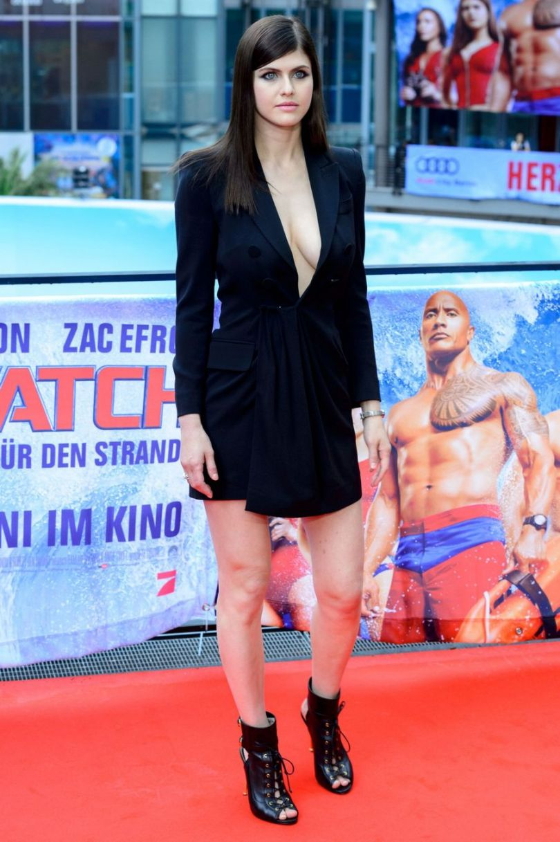 Alexandra Daddario Black Dress Baywatch Berlin Film Premiere