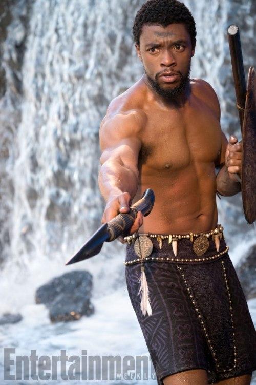 Chadwick Boseman Holding Spear Black Panther