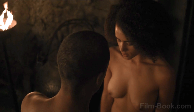 Jacob Anderson Nathalie Emmanuel Breasts Game of Thrones Stormborn
