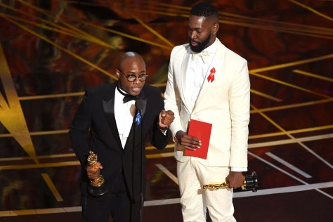 HOLLYWOOD, CA - FEBRUARY 26: Writer/director Barry Jenkins (L) and writer Tarell Alvin McCraney accept Best Adapted Screenplay for 'Moonlight' onstage during the 89th Annual Academy Awards at Hollywood & Highland Center on February 26, 2017 in Hollywood, California. (Photo by Kevin Winter/Getty Images)