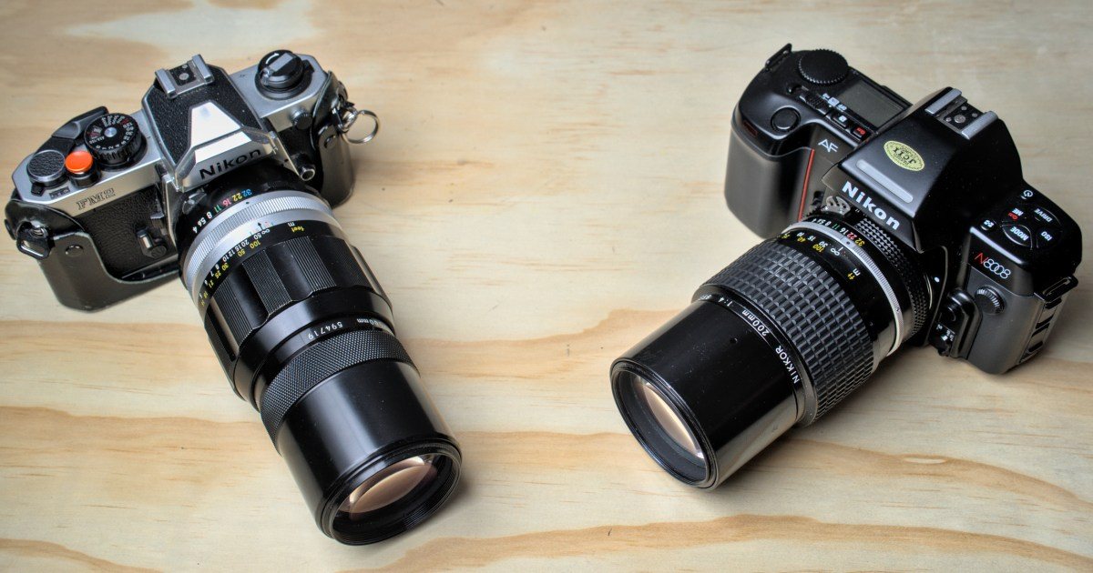 Nikon FM2 with Nikkor-Q C 200mm 1:4 and Nikon N8008 with Nikkor 200mm AI 1:4