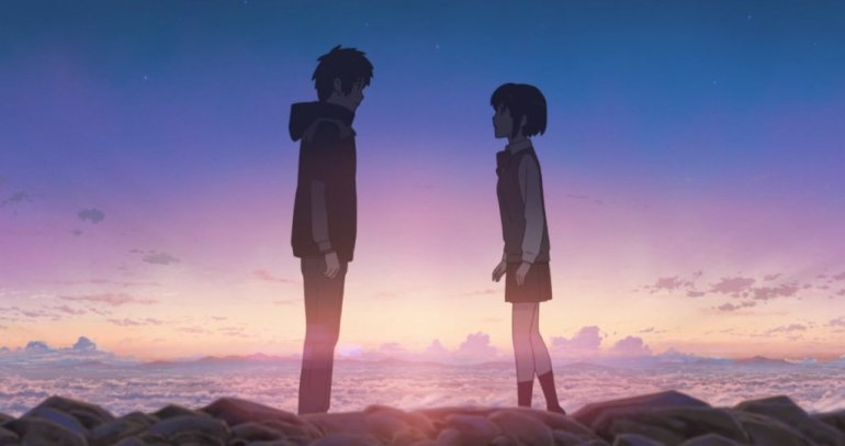 Taki and Mitsuha meet at twilight.