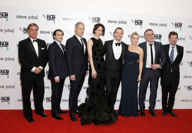 LONDON, ENGLAND - OCTOBER 18: (L to R) Screenwriter Aaron Sorkin, Michael Stuhlbarg, Jeff Daniels, Katherine Waterston, Michael Fassbender, Kate Winslet, director Danny Boyle and producer Christian Colson attend the