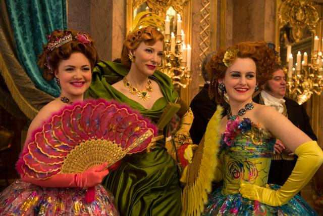 Holliday Grainger, Cate Blanchett and Sophie McShera wearing Sandy's handiwork in Cinderella