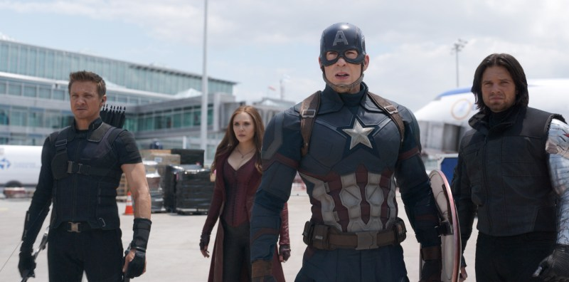 Chris Evans, Jeremey Renner and fellow cast in Captain America: Civil War