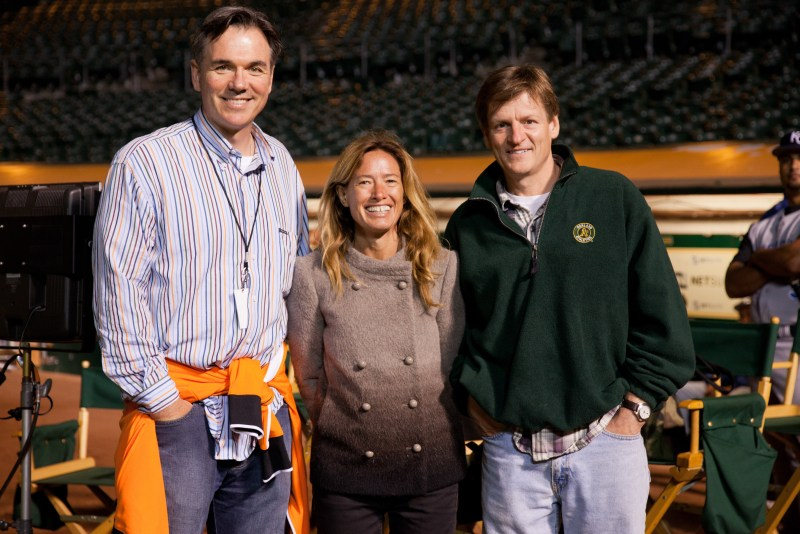Billy Beane, producer Rachael Horovitz, and author Michael Lewis.