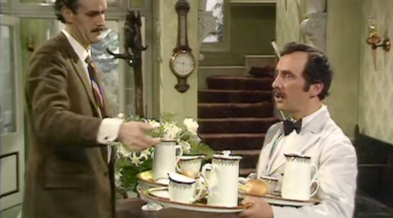 Andrew Sachs as Manuel in BBC comedy series Fawlty Towers with John Cleese