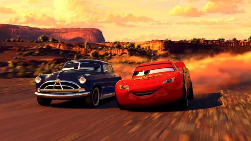 Lightning McQueen (Owen Wilson) and Doc Hudson (Paul Newman) in Cars 3