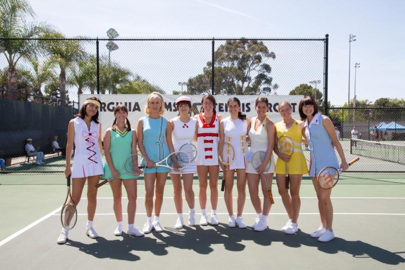 "Emma Stone and ""The Nine"" in the film BATTLE OF THE SEXES (From L-R: Natalie Morales, Martha MacIsaac, Mickey Summer, Bridey Elliott, Kaitlyn Christian, Fidan Manashirova, Lauren Kline, Ashley Weingold and Emma Stone)Copyright: ©2016 Twentieth Century Fox Film Corporation Photo by Melinda Sue Gordon. © 2017 Twentieth Century Fox Film Corporation All Rights Reserved"