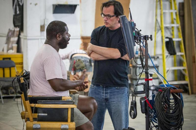 Joe Walker on the set of 12 Years A Slave with director Steve McQueen