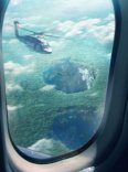 The twin sinkholes in Venezuela under investigation by aerial M.U.T.O. research teams, all part of the viral marketing for Gareth Edwards' GODZILLA coming to theaters May 16, 2014. © Warner Brothers/Legendary Pictures.