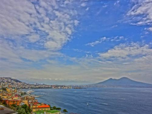 Naples and its most famous landmark Mount Vesuvius