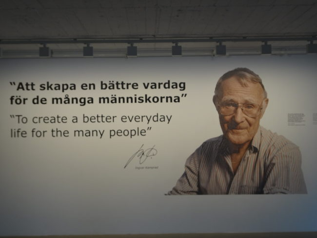 Ingvar Kamprad quotation at the entrance of the IKEA museum in Älmhult, Sweden. © Sonja Irani / FilmFanTravel.com