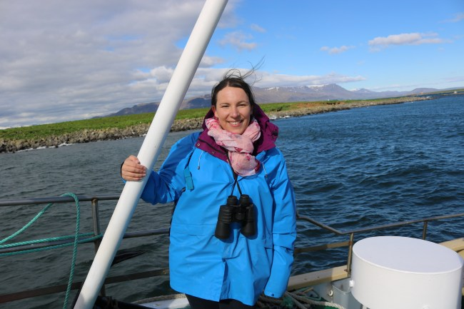 Me on the puffin watching tour in Iceland