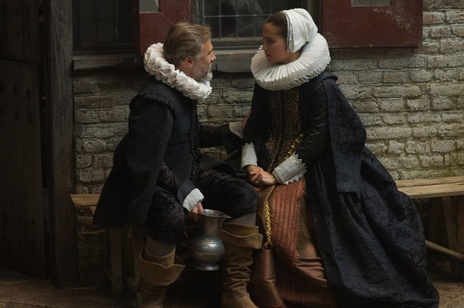 "Christoph Waltz and Alicia Vikander in ""Tulip Fever"". Photo: Alex Bailey © 2014 The Weinstein Company."