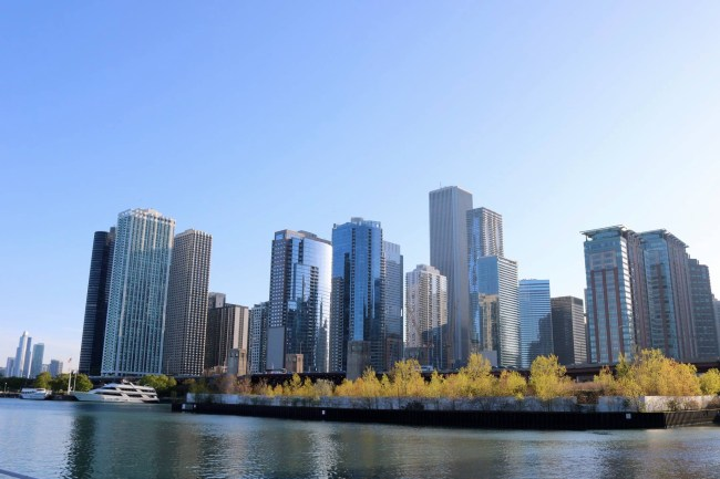 View at the Chicago skyline from the water