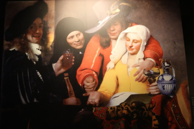 "In Vermeer's painting ""The Procuress"" (c. 1656), the man holding a glass on the left is thought to be the artist himself."