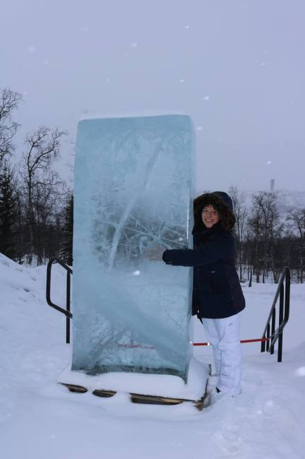 """""""Hugging it out"""" with an ice block. :-) Photo: © Sonja Irani / FilmFanTravel.com"""