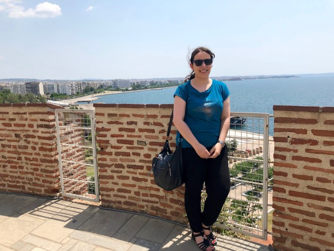 At the top of the White Tower in Thessaloniki, Greece © Sonja Irani / FilmFanTravel.com