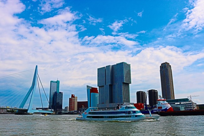 Harbour front and Erasmus Bridge in Rotterdam. Photo: © Sonja Irani / FilmFanTravel.com