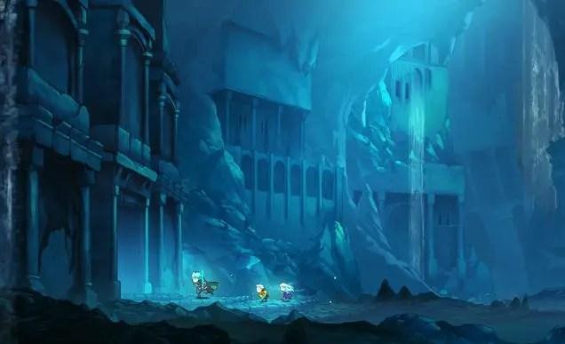 Greak, Adara and Raydel running through vast underground ruins filled with bright blue light.