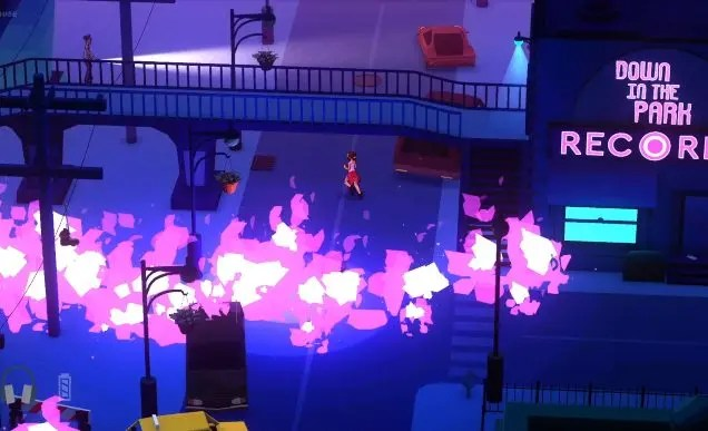 A screenshot from a video game. A young woman with a red hoodie wrapped around her waist runs underneath a pedestrian bridge in an empty city. At the bottom of the screen is a line of pinkish flames.