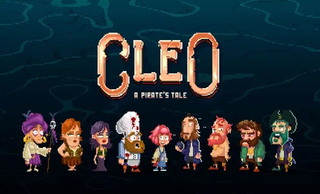 The title of the game in pixel art with some of the pirate characters standing underneath it, Cleo in the centre.