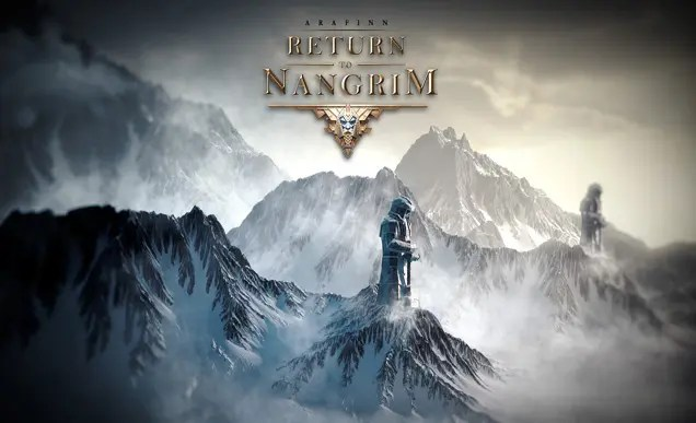 The game title set against snow-capped mountains with a statue of a warrior holding a sword pointing down at the peak