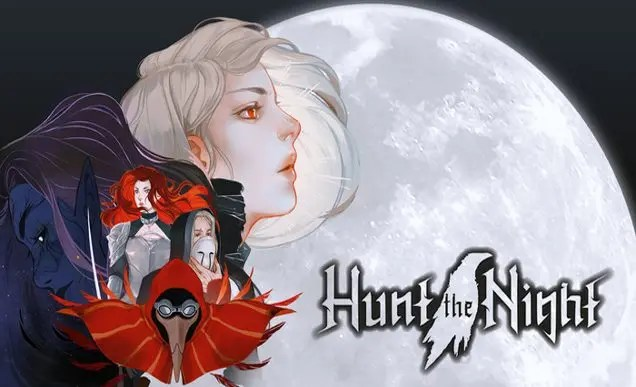 The cover image for the game Hunt the Night, featuring a collection of characters including a plague doctor wearing a red cape and the white-haired protagonist looking up to the right. The logo is in the bottom right and the backdrop is a white full moon.