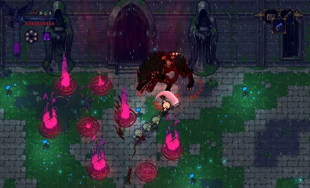 The protagonist fights a giant werewolf in a grassy courtyard. The floor is littered with red sigil traps and the protagonist slashes with her sword at the creature.