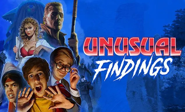 The cover image for the game Unusual Findings, featuring a collection of characters including a character similar to The Terminator, a woman opening her lab coat to expose her underwear and three young boys, one with his hands up in shock.