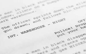 Close up on a film script/screenplay. Displayed on the homepage of FilmLocal.