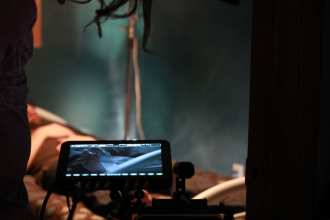 A still from the set of the short film Apparitions.