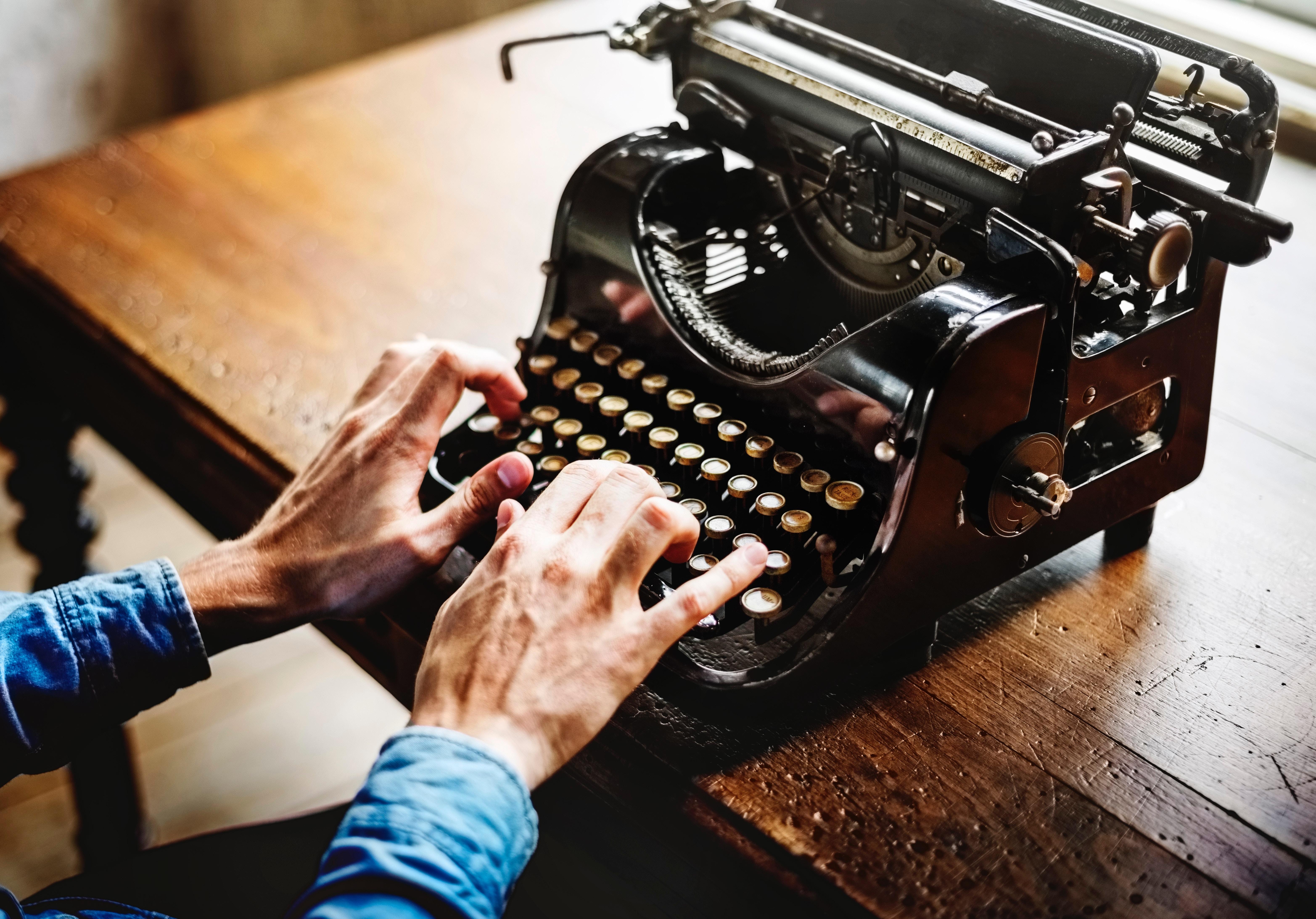 A close up on a typewriter.