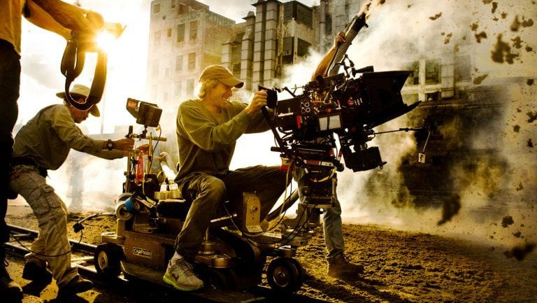 Behind the scenes photo of a Michael Bay movie