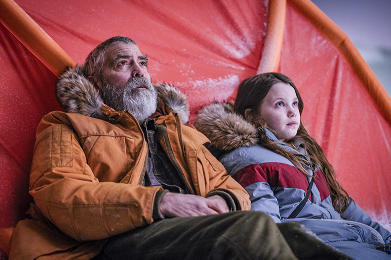 George Clooney and Caoilinn Springall in Midnight Sky
