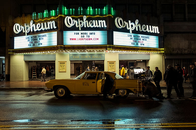 Sylvie's Love filming at the Orpheum Theatre in LA