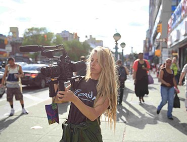 Crystal Moselle on the set of THE WOLFPACK